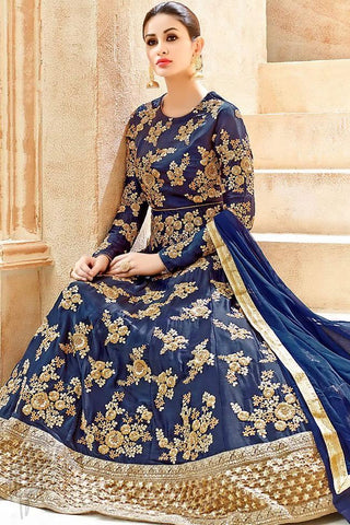 Indi Fashion Navy Blue and Gold Georgette Floor Length Party Wear Suit