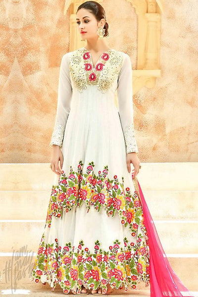 Buy Snow White and Pink Net Floor Length Party Wear Suit Online at indi.fashion
