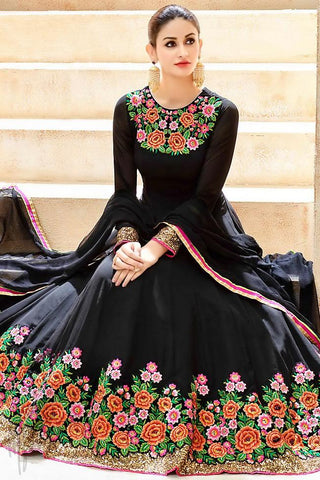 Buy Midnight Black Georgette Floor Length Party Wear Suit Online at indi.fashion