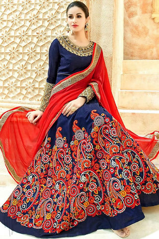 Buy Navy Blue and Red Silk Floor Length Party Wear Suit Online at indi.fashion