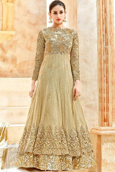 Buy Beige Net Floor Length Party Wear Suit Online at indi.fashion