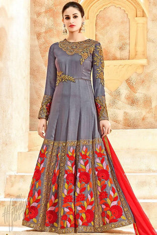 Buy Gray and Red Georgette Floor Length Party Wear Suit Online at indi.fashion