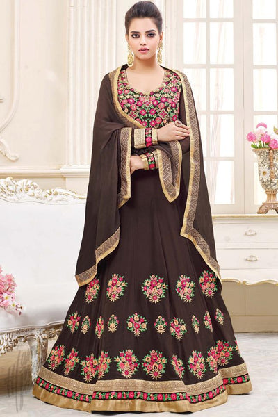 Buy Brown Georgette Floor Length Party Wear Suit Online at indi.fashion