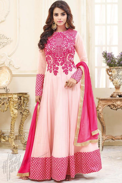 Buy Pink Georgette Floor Length Party Wear Suit Online at indi.fashion