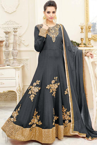 Buy Dark Gray Chiffon Floor Length Party Wear Suit Online at indi.fashion