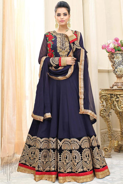 Buy Dark Blue Georgette Floor Length Party Wear Suit Online at indi.fashion