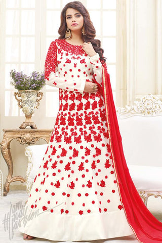 Buy White and Red Georgette Floor Length Party Wear Suit Online at indi.fashion