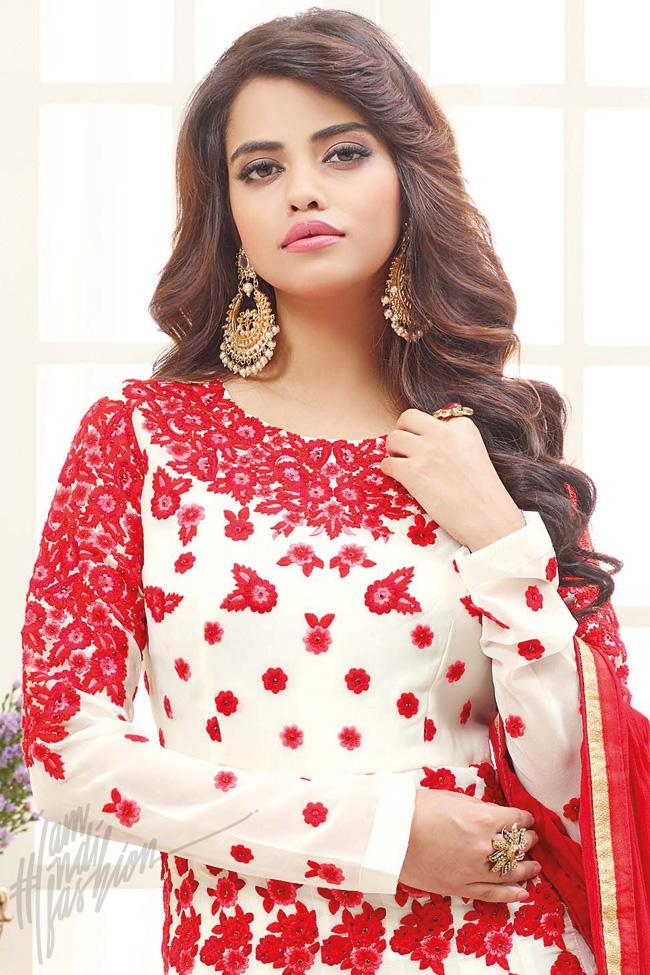 Indi Fashion White and Red Georgette Floor Length Party Wear Suit