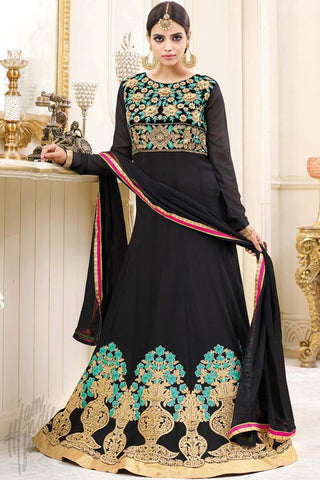 Buy Black Georgette Floor Length Party Wear Suit Online at indi.fashion