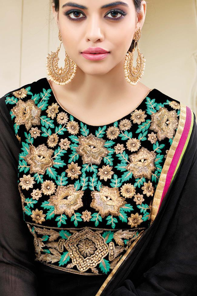 Indi Fashion Black Georgette Floor Length Party Wear Suit