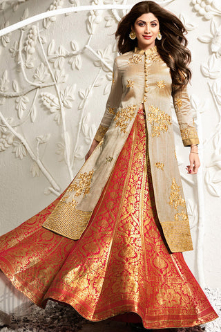 Indi Fashion Beige and Orange Raw Silk Jacket Style Lehenga Set