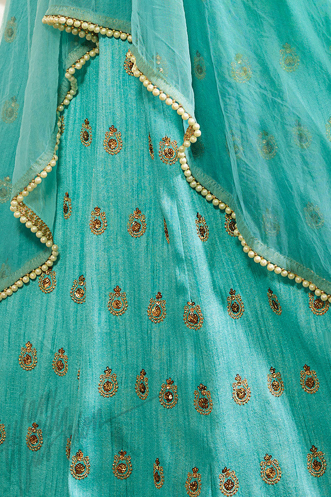 Indi Fashion Sky Blue Raw Silk and Net Lehenga Style Party Wear Suit