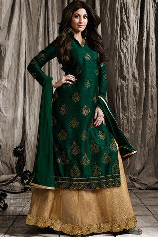Indi Fashion Bottle Green and Beige Raw Silk Jacket Style Lehenga Set