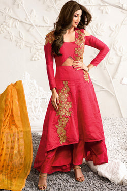 Indi Fashion Hot Pink and Orange Raw Silk Asymmetrical Party Wear Suit