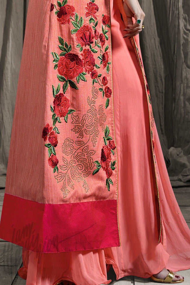 Buy Peach Raw Silk Floor Length Party Wear Palazzo Suit Online at indi.fashion