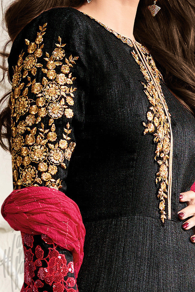 Indi Fashion Black and Red Raw Silk Floor Length Party Wear Anarkali Suit