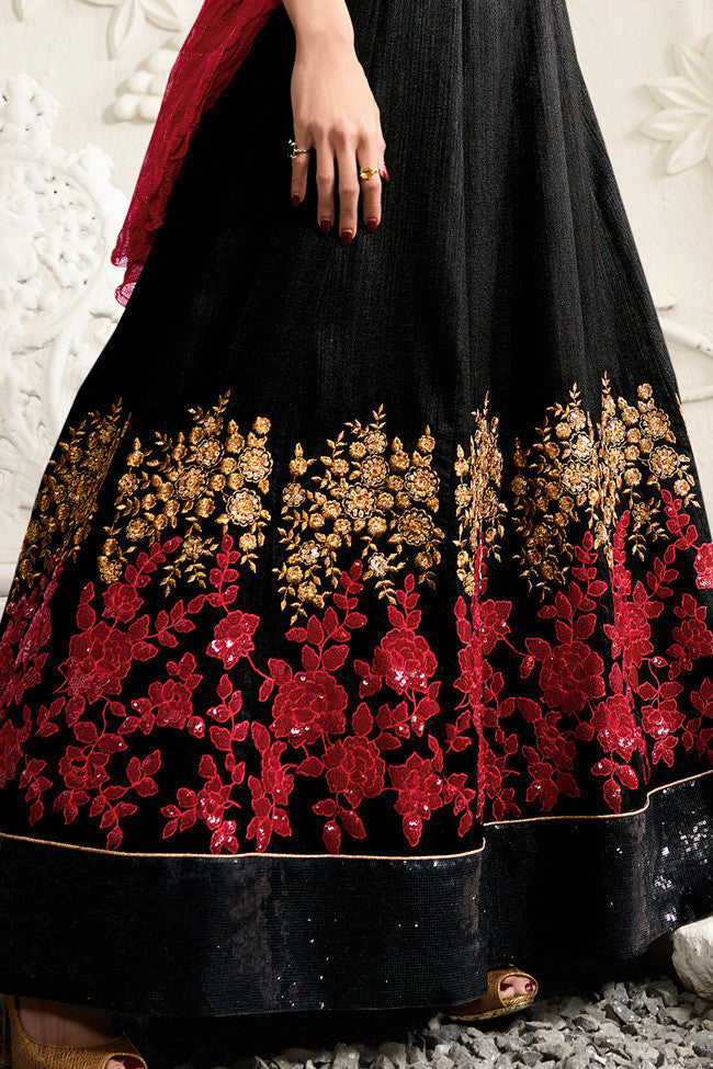 Buy Black and Red Raw Silk Floor Length Party Wear Anarkali Suit Online at indi.fashion