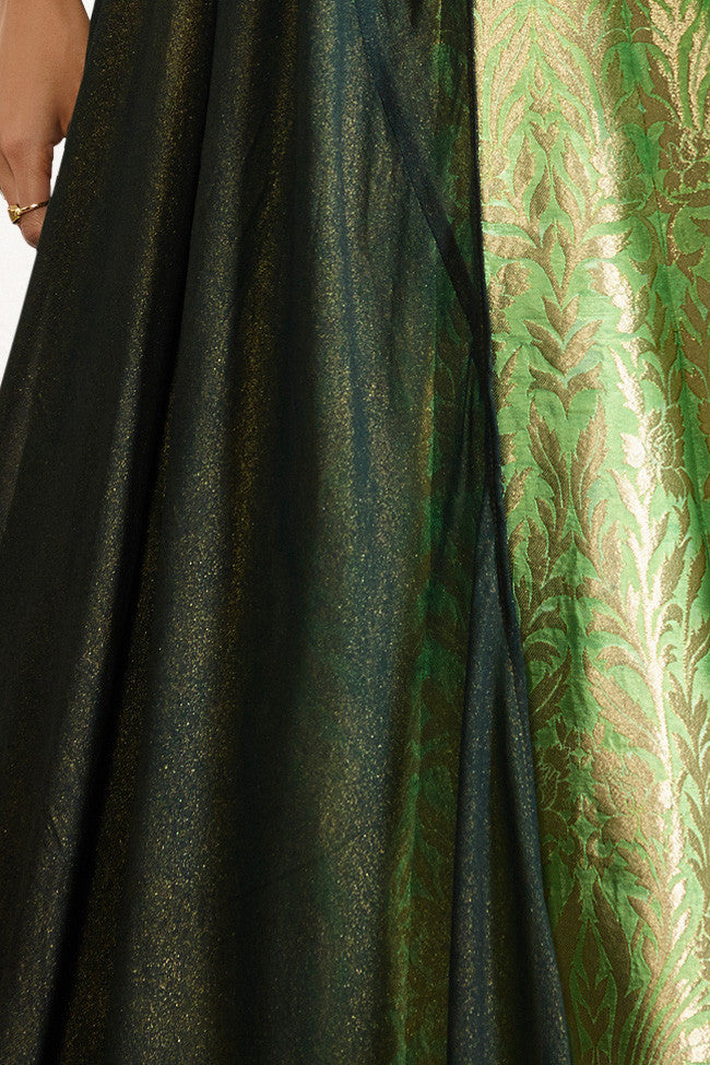 Indi Fashion Bottle Green and Parrot Green Raw Silk Lehenga Set