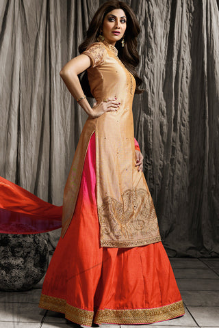 Indi Fashion Beige Pink and Orange Shaded Jacket Style Lehenga Set