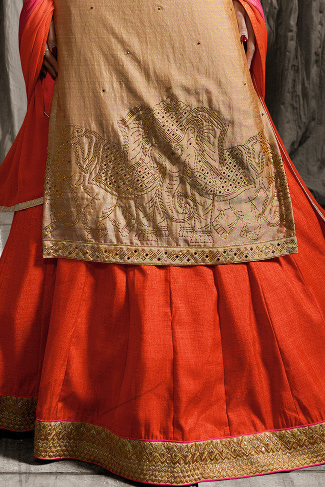 Buy Beige Pink and Orange Shaded Jacket Style Lehenga Set Online at indi.fashion
