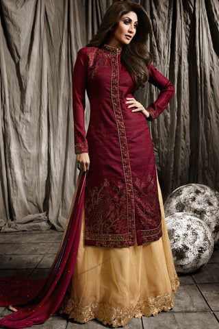 Indi Fashion Maroon and Beige Raw Silk Jacket Style Lehenga Set