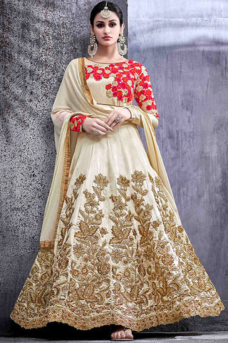 Indi Fashion Off White Silk Party Wear Suit with Red and Gold Work