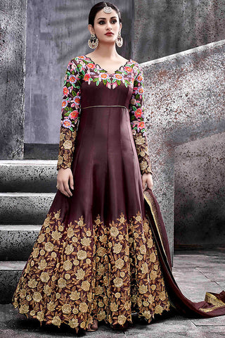 Indi Fashion Wine Silk Party Wear Suit with Multicolor and Gold Work