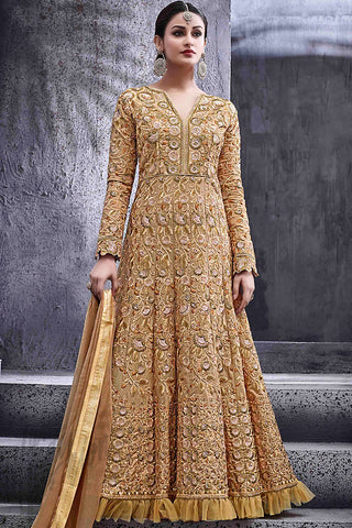 Indi Fashion Beige Silk Party Wear Suit with Green Peach and Gold Work