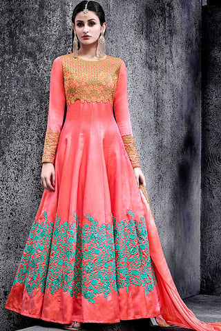 Indi Fashion Pink Silk Party Wear Suit with Gold Green and Blue Work