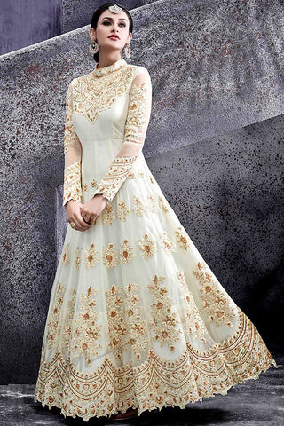 Indi Fashion White Silk Party Wear Suit with Gold Work