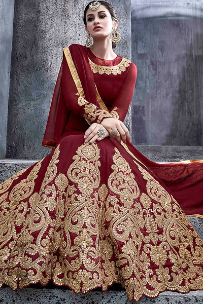 Buy Maroon Georgette Party Wear Suit with Gold Work Online at indi.fashion