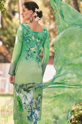 Buy Green Lawn Cotton Straight Style Suit Online at indi.fashion