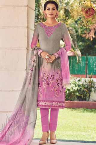 Indi Fashion Pink and Gray Lawn Cotton Straight Style Suit