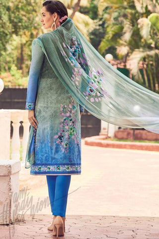 Indi Fashion Blue and Gray Lawn Cotton Straight Style Suit