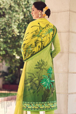 Indi Fashion Liril Green Lawn Cotton Straight Style Suit