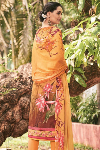 Indi Fashion Orange Brown Lawn Cotton Straight Style Suit