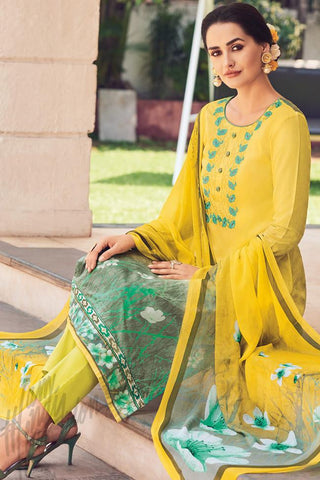Indi Fashion Yellow Green Lawn Cotton Straight Style Suit