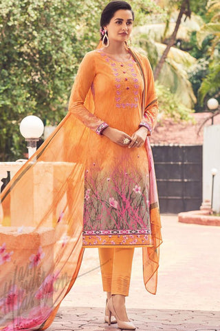 Indi Fashion Orange Lawn Cotton Straight Style Suit