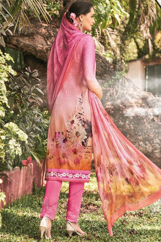 Indi Fashion Pink Lawn Cotton Straight Style Suit
