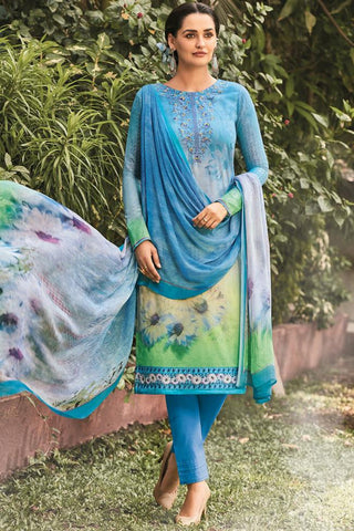 Indi Fashion Blue Lawn Cotton Straight Style Suit