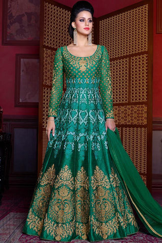 Indi Fashion Green and Gold Silk Floor Length Party Wear Suit