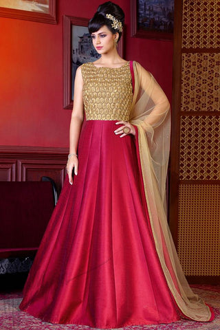 Indi Fashion Gold and Red Silk Floor Length Party Wear Suit