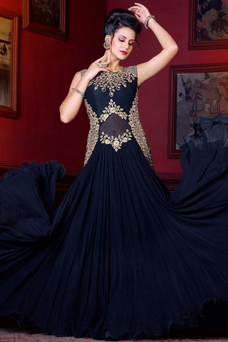 Indi Fashion Midnight Blue and Gold Georgette Gown Style Suit