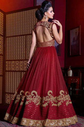 Indi Fashion Tomato Red and Gold Premium Net Gown Style Suit
