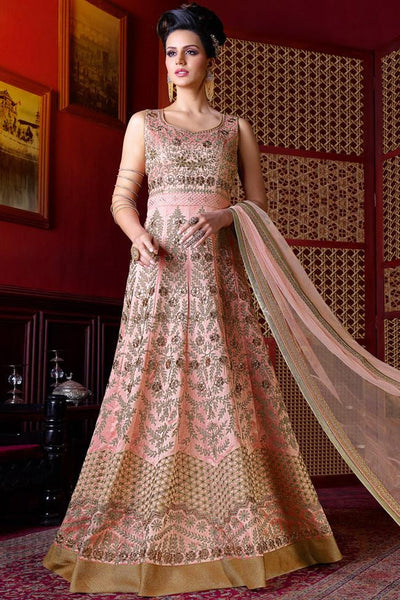 Buy Onion Pink Silk Floor Length Suit Online at indi.fashion