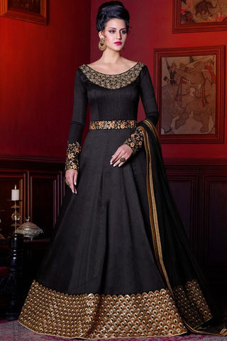Indi Fashion Midnight Black and Gold Silk Floor Length Suit