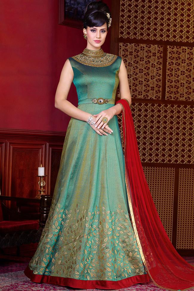 Shaded Green Gold and Red Silk Gown Style Suit - indi.fashion