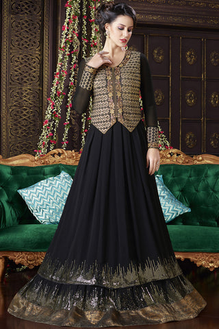 Indi Fashion Black and Beige Georgette and Silk Floor Length Suit