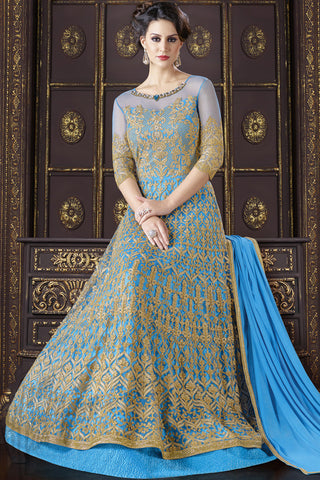 Indi Fashion Blue and Gold Net Floor Length Suit