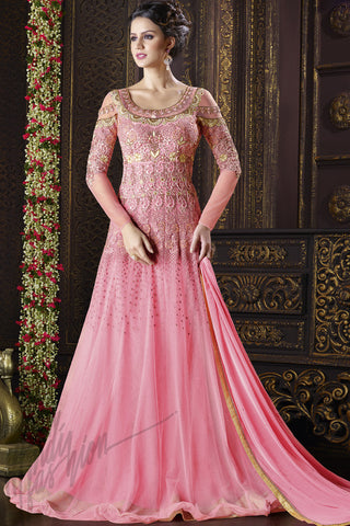 Indi Fashion Baby Pink Net Floor Length Suit